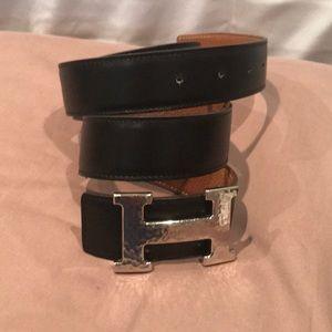 Hermès reversible black/brown leather belt